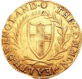 Commonwealth gold Unite, 1653. Credits: Classical Numismatic Group, Inc, WIkipedia
