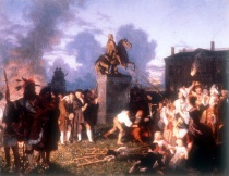 J.A.S. Oertel- Pulling Down the Statue of King George III- ca 1859. Credits: Wikipedia
