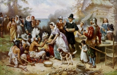 William Lockhart Made The First Thanksgiving 1621, oil on canvas by Jean Leon Gerome Ferris (1863–1930). Courtesy of WikiCommons